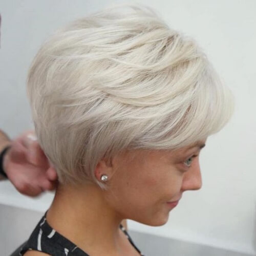 Platinum White Wedge Hairstyle