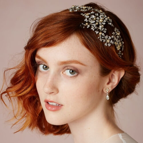 Side Swept Short Wedding Hairstyles