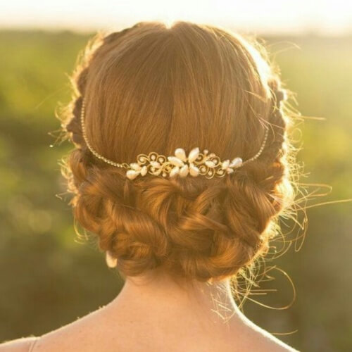 Wedding Hairstyles for Short Hair with Metallic Accessories