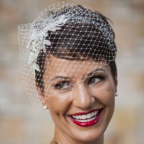 Wedding Hairstyles with Birdcage Veil