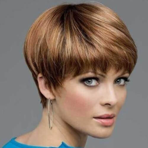 Wedge Haircut with Arched Bangs