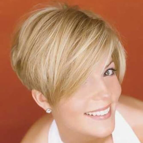 Wedge Haircut with Side Swept Bangs