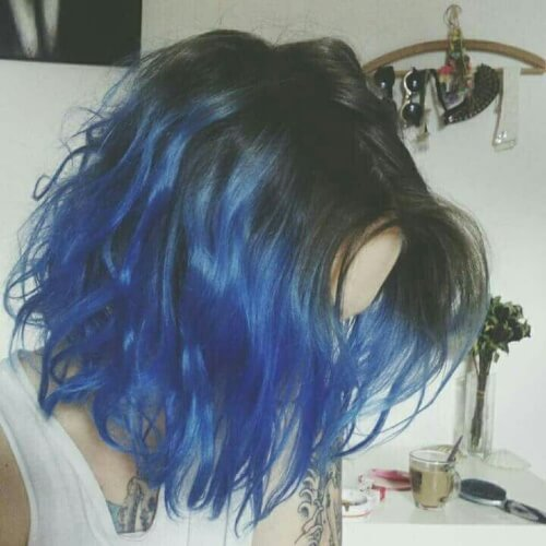 Black and Blue Short Ombre Hair