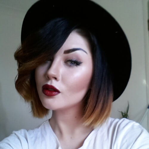 Black to Auburn Short Ombre