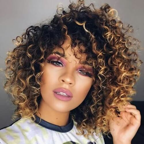 Curly Short Haircuts for Fine Hair with Colored Tips
