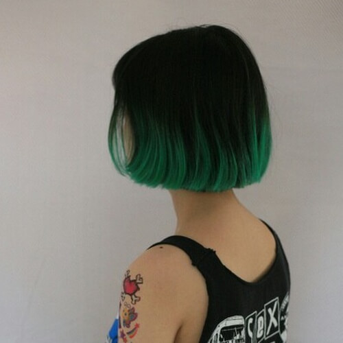 Green Short Ombre Hair