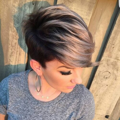 Grey Ombre Pixie Cut