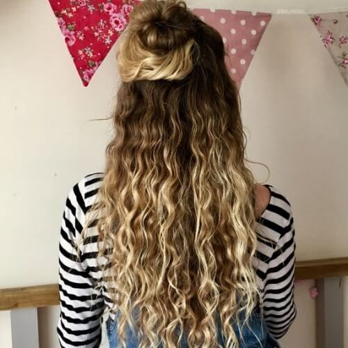 Half Up Long Curly Hairstyles with Buns