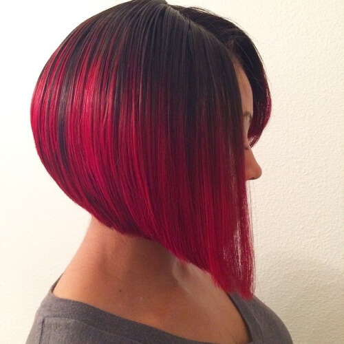 Magenta Short Ombre Hair