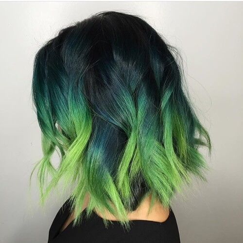 Navy to Green Short Ombre Hair