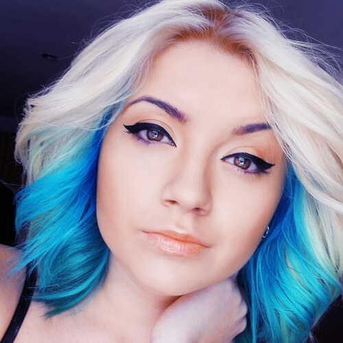 Platinum and Cyan Short Ombre Hair