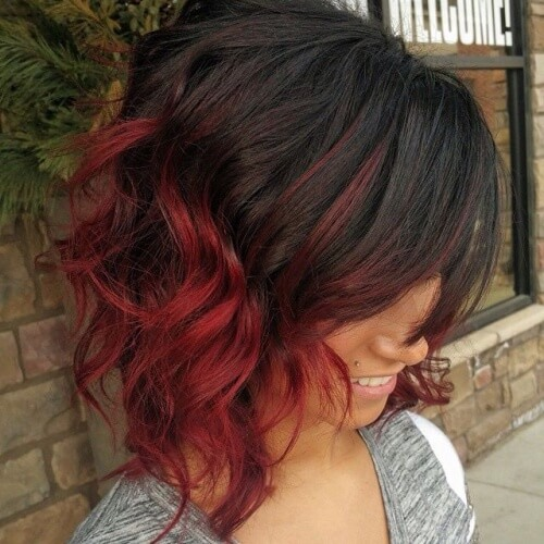 Short Hair Ombre Red Hairstyle