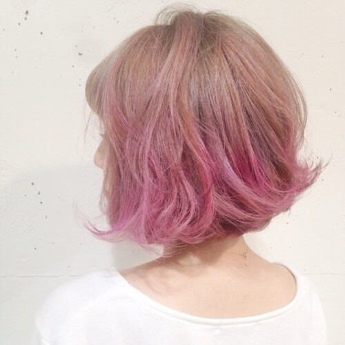 Short Light Brown and Pink Ombre Hair