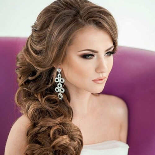 Side-swept Long Curly Hairstyles