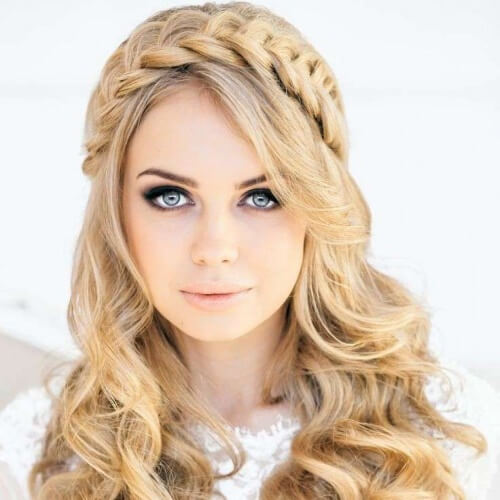Crown Braid Hairstyles for Christmas Party with Half Up Hair