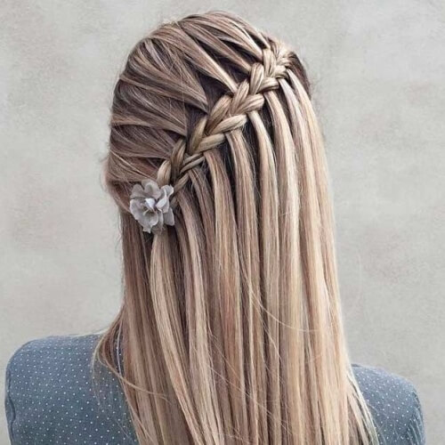 Diagonal Braid Hairstyles for Christmas Party