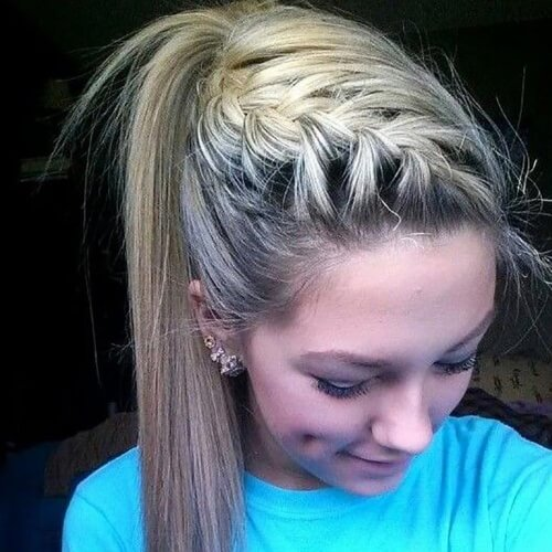 Diagonal Half Up French Braid Ponytails