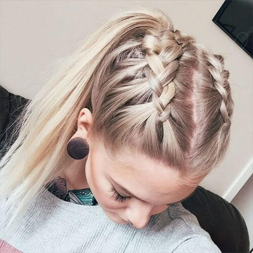 Double French Braid Hairstyles with High Ponytails