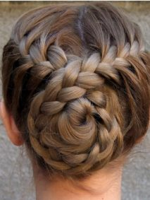 French Braid Hairstyles with Twisted Braided Buns