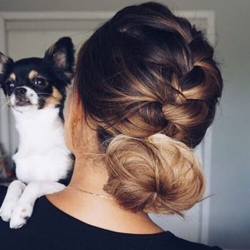 French Braid into Low Messy Bun Hairstyles