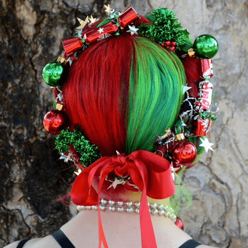 Hairstyles with Christmas Colors