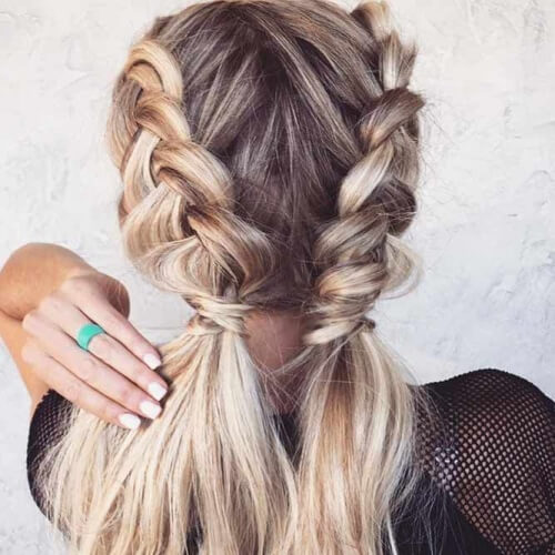 Half Braided Pigtail Hairstyles for Christmas Party