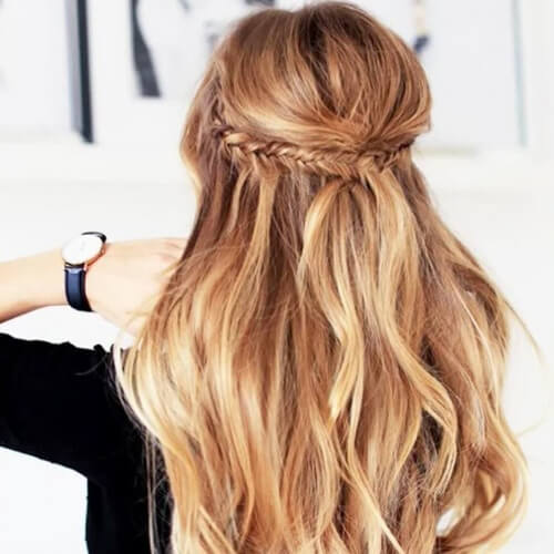 Half Up Braided Hairstyles for Christmas Party