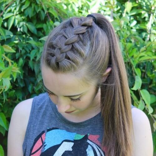 High Ponytails with French Braided Tops