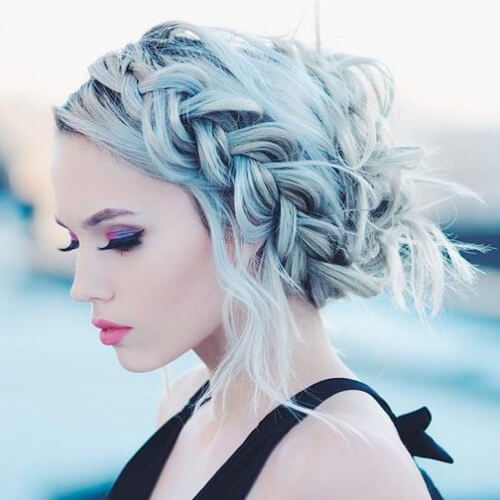 Loose Halo Braid Hairstyles for Christmas Party