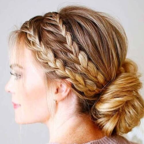 Low Buns with Braids