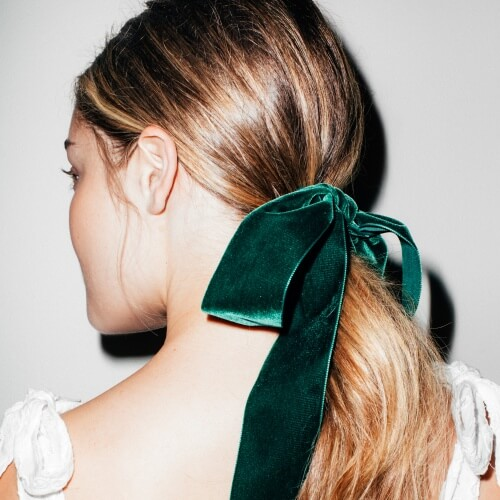 Low Ponytail Hairstyles for Christmas Party with Ribbons