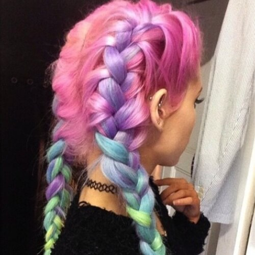 Pastel Rainbow French Braids