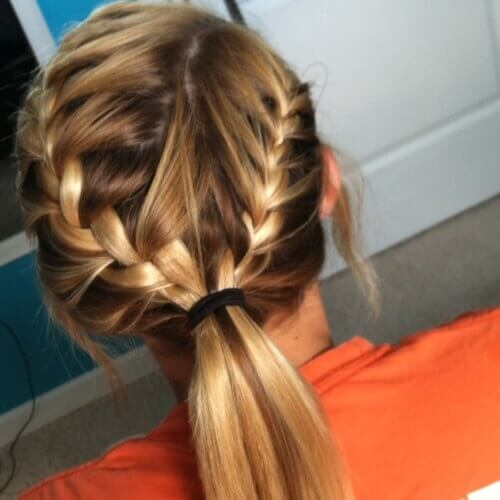 Side Part French Braids into Ponytails