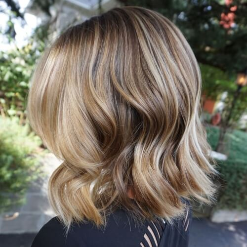 Honey Brown Hair Balayage on Blonde Hair