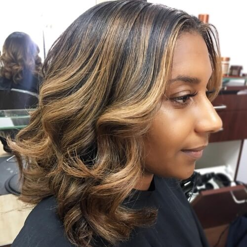 Honey Brown Hair Color on Dark Skin