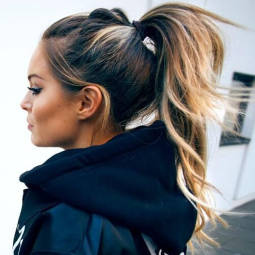 Ponytail with Honey Brown and Blonde Hair