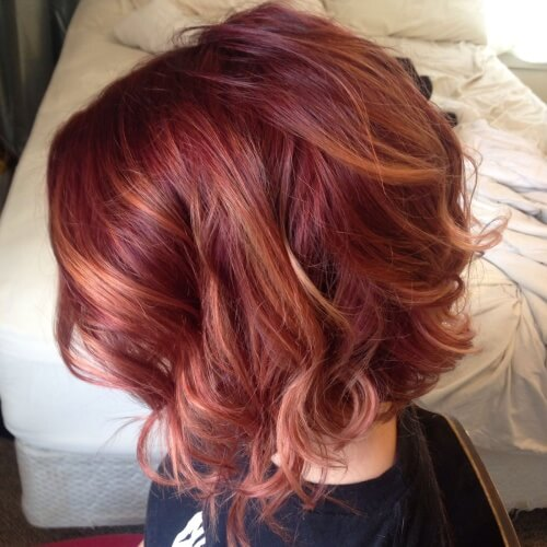 Red Hair with Honey Brown Highlights