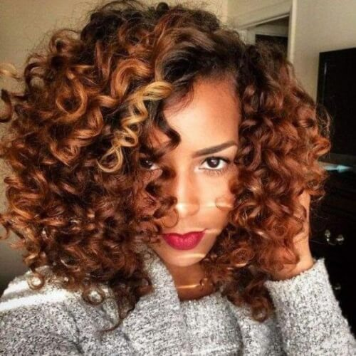 Reddish Honey Brown Hair with Curls
