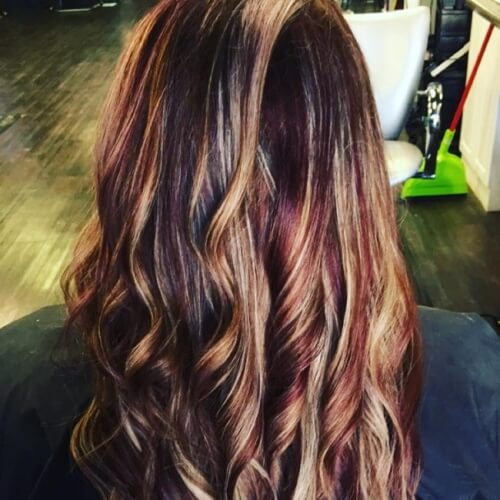 Black Cherry Base with Caramel Highlights