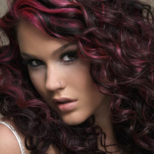 Black Cherry Hair with Pink Highlights