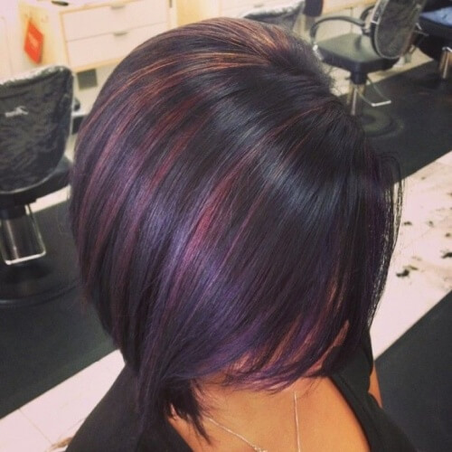 Black Cherry Hairstyle with Wispy Highlights