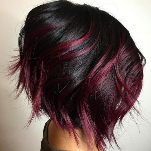 Black Cherry Highlights on Black Hair