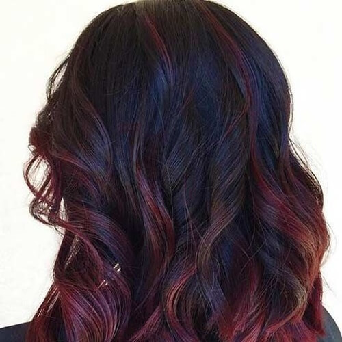 Blueish Black Hair with Black Cherry Highlights