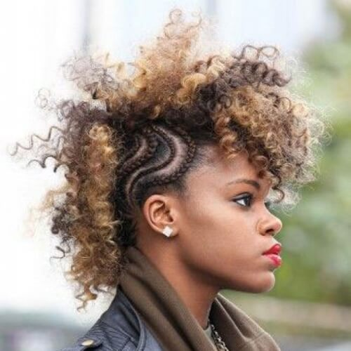 Braided Mohawk with Afro Top
