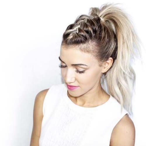 Braided Mohawk with High Ponytail