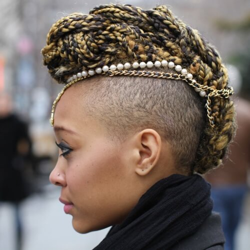 Braided Mohawk with Jewelry