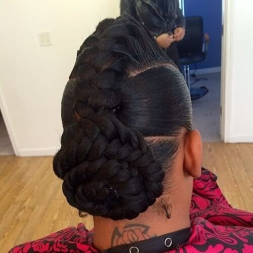 Braided Mohawk with Low Braided Bun