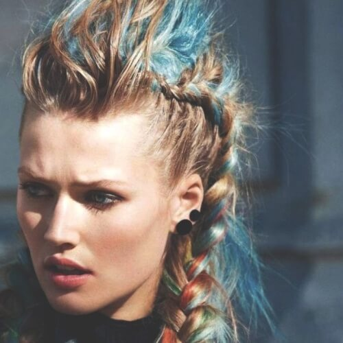 Colorful Braided Mohawk