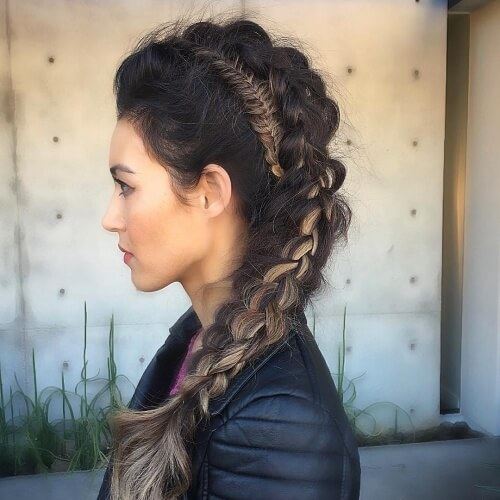 Fishtail Braided Mohawk with Plait