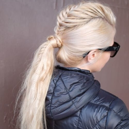 Fishtail Mohawk Braid with Low Ponytail